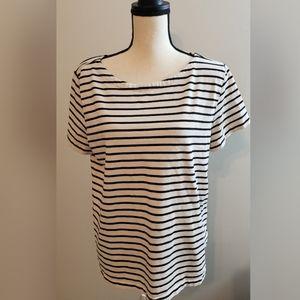 J Crew Black White Stripe Short Sleeve Top XL